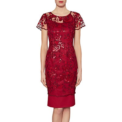 Gina Bacconi Annabelle Embroidered Sequin Dress, Wine