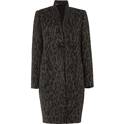 Damsel in a Dress Rowan Leopard Print Coat, Charcoal/Black