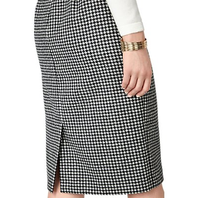 Pure Collection Dog Tooth Wool Pencil Skirt, Black/White