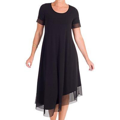 Chesca Jersey Asymmetric Mesh Dress, Black