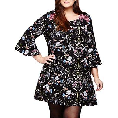 Yumi Curves Floral Print Shift Dress, Black