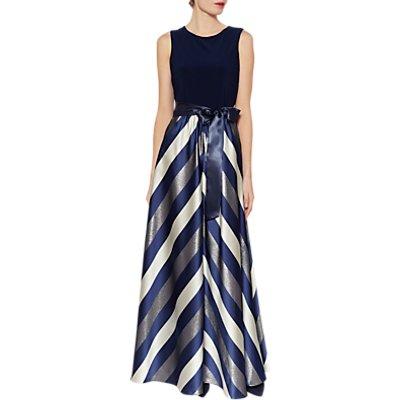 Gina Bacconi Michaela Satin Stripe Maxi Dress
