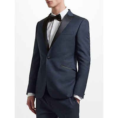 Kin by John Lewis Jacquard Pindot Slim Fit Dress Jacket  Navy - 24054508