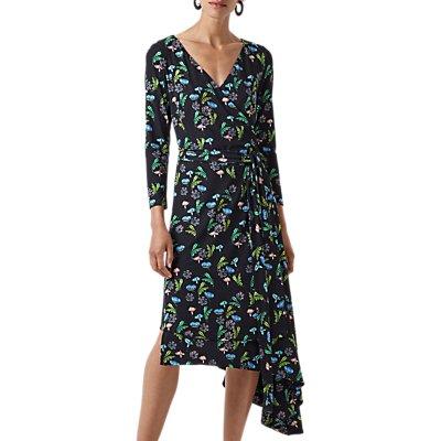 Finery Ebor Printed Jersey Wrap Dress, Black
