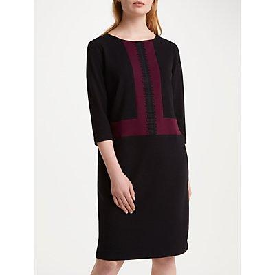Winser London Crepe Jersey Colour Block Shift Dress, Rich Berry/Black