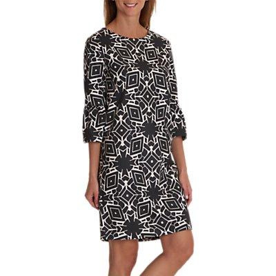 Betty & Co. Monochrome Bell Sleeve Dress, Black/Cream