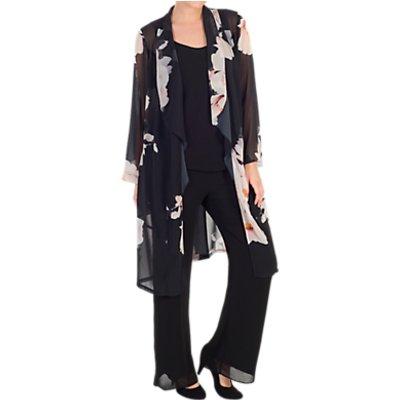Chesca Floral Print Chiffon Coat, Black/Blush