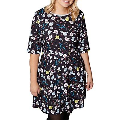 Yumi Curves Nouveau Floral Print Dress, Black