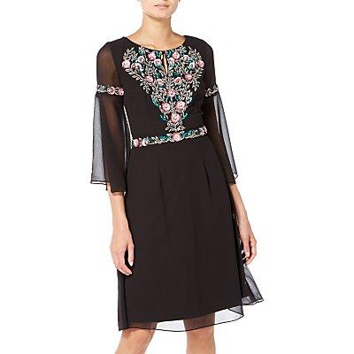 Raishma Boho Floral Embroidered Boho Dress, Black