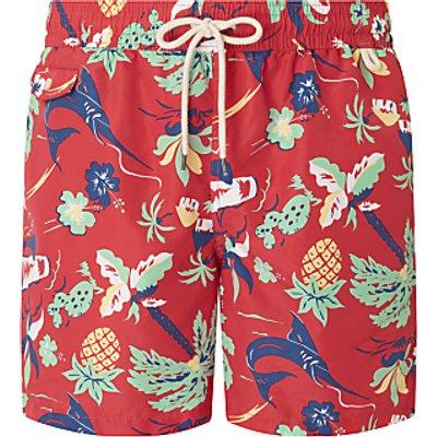 Polo Ralph Lauren Traveller Tropical Print Swim Shorts, Red