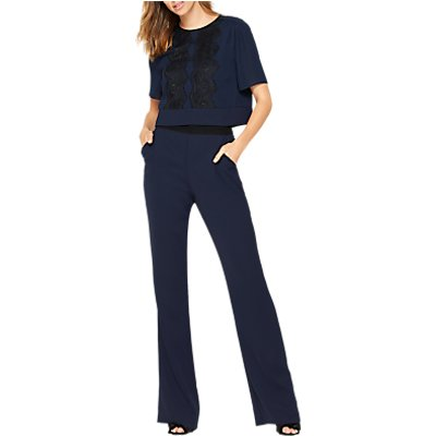 Damsel in a Dress Lace Bodice Jumpsuit, Navy