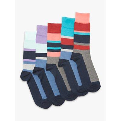 John Lewis   Partners Sport Stripe Socks  Pack of 5  Multi - 24085526