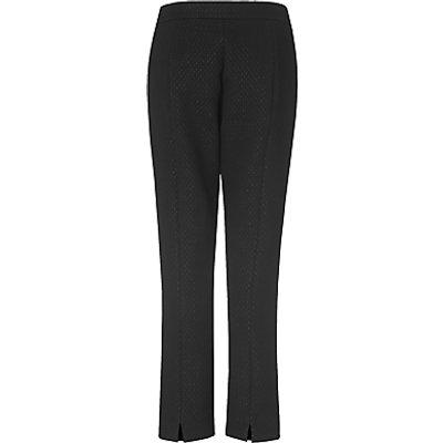 L K  Bennett Lolly Textured Ankle Grazer Trousers  Black - 5054760258749