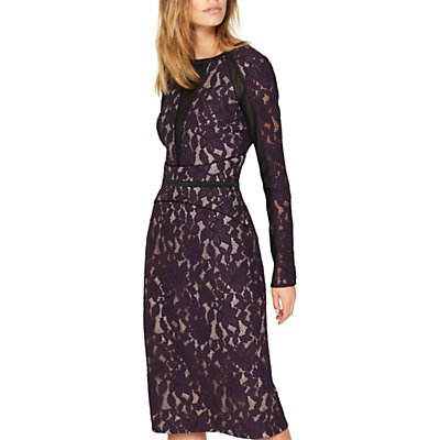 Damsel in a Dress Dalia Lace Panel Dress, Aubergine/Black