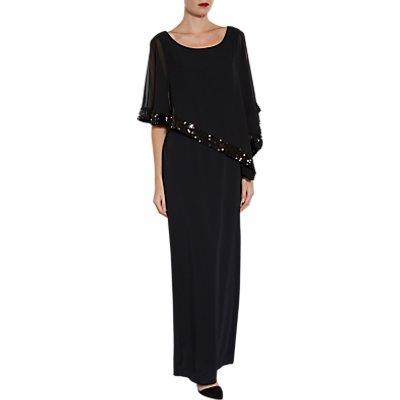Gina Bacconi Tiffany Sequin Trim Crepe Maxi Dress