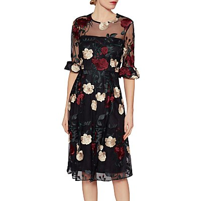Gina Bacconi Celia Floral Embroidered Dress, Multi