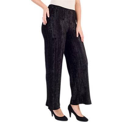 Chesca Pleated Velvet Trousers, Black