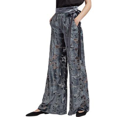 French Connection Brigitte Velvet Flared Trousers  Dark Bonfire Blue - 889042538500