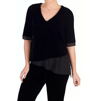 Chesca V-Neck Short Sleeve Asymmetric Velvet Top, Black