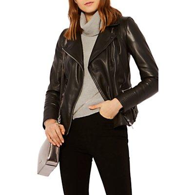 Karen Millen Strong Shoulder Leather Biker Jacket  Black - 5054236256965