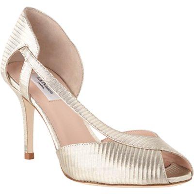 L.K.Bennett Liya Peep Toe Sandals, Soft Gold Leather