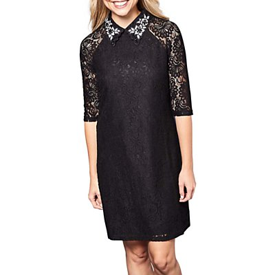 Yumi Lace Embellished Dress, Black