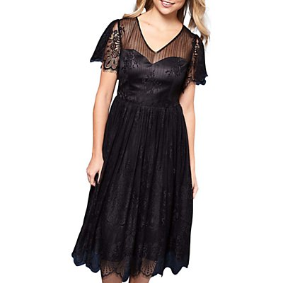 Yumi Organza Lace Dress, Black