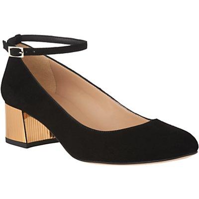 L.K. Bennett Alba Block Heeled Court Shoes, Black Suede/Gold