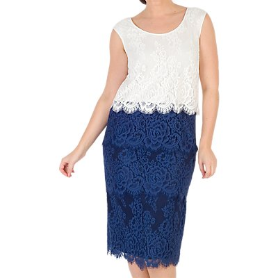 Chesca Eyelash Trim Lace Dress, Riviera Blue/Ivory
