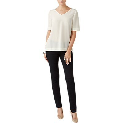 5052265422030 | Pure Collection Silk V Neck Top  Ivory