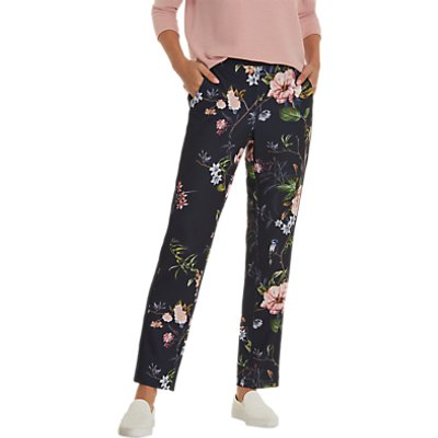 Betty Barclay Floral Print Trousers, Dark Blue/Rose