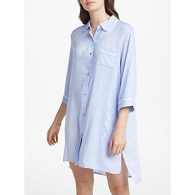 DKNY 3 4 Sleeve Mixed Print Nightshirt  Blue - 716273216993