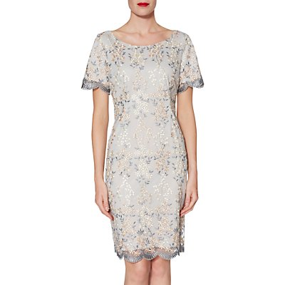 Gina Bacconi Janice Embroidered Dress, Beige