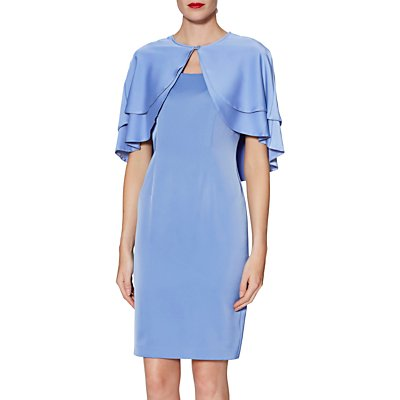 Gina Bacconi Colette Dress and Cape, China Blue