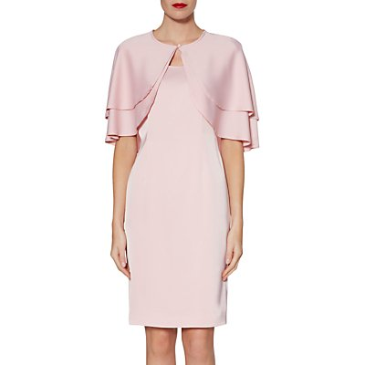 Gina Bacconi Colette Satin Crepe Dress And Cape, Rose Petal