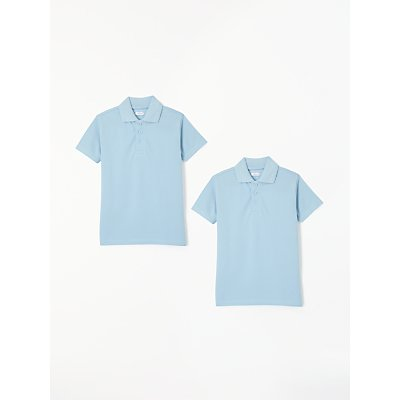 John Lewis & Partners Unisex Pure Cotton Easy Care School Polo Shirt, Pack of 2