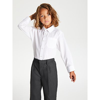 John Lewis & Partners The Basics Long Sleeve School Shirt, Pack of 3, White