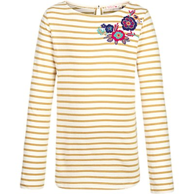 Fat Face Girls' Long Sleeve Embroidered Breton T-Shirt
