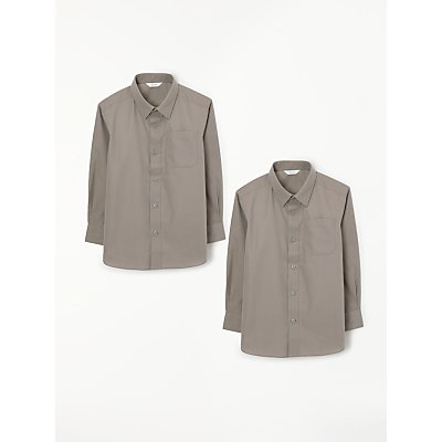 John Lewis & Partners Easy Care Long Sleeve School Shirt, Pack of 2