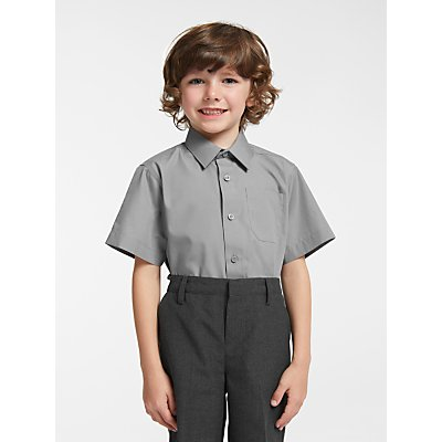 John Lewis & Partners Easy Care Short Sleeve School Shirt, Pack of 2
