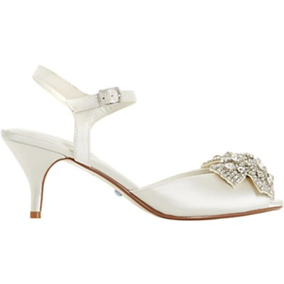 Dune Bridal Collection Majestie Kitten Heel Sandals, Ivory Satin