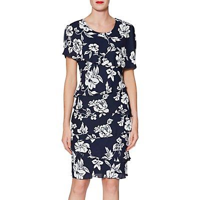 Gina Bacconi Esme Tiered Floral Print Dress, Navy