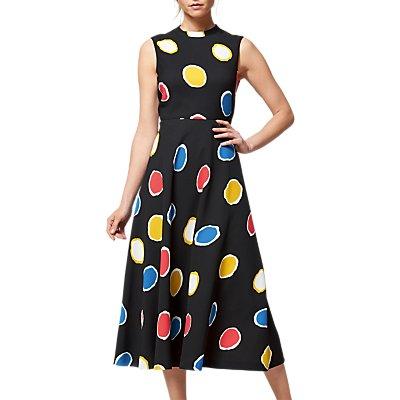 L K  Bennett Marlina Colour Spot Dress  Black Multi - 5054760318283