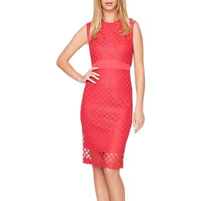 Damsel in a Dress Grid Lace Dress, Cherry