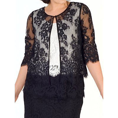 Chesca Scallop Trim Lace Jacket, Black