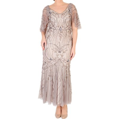 Chesca Cape Trim Beaded Mesh Dress