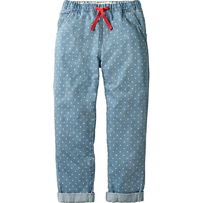 Mini Boden Girls' Pull On Polka Dot Trousers, Blue