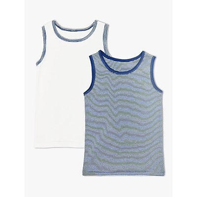 John Lewis & Partners Boys' Organic Cotton Tops, Pack of 2, Blue