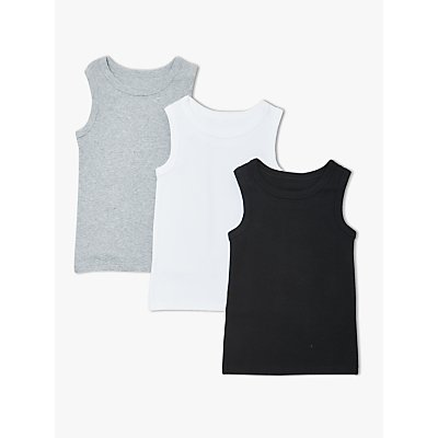 John Lewis & Partners Boys' Plain Vests, Pack of 3, Black/White