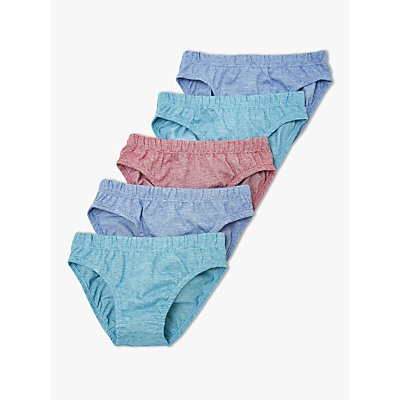John Lewis & Partners Boys' Marl Briefs, Pack of 5, Blue/Red
